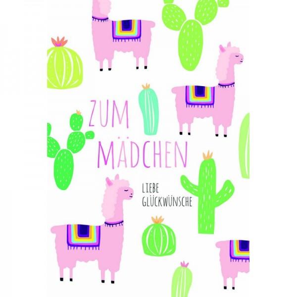 Minikarte Baby Lama Kaktus Mädchen