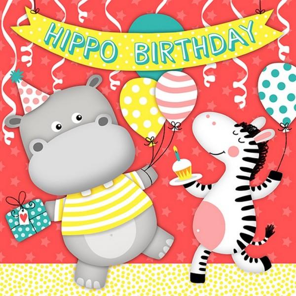 Serviette Atelier: Hippo Birthday