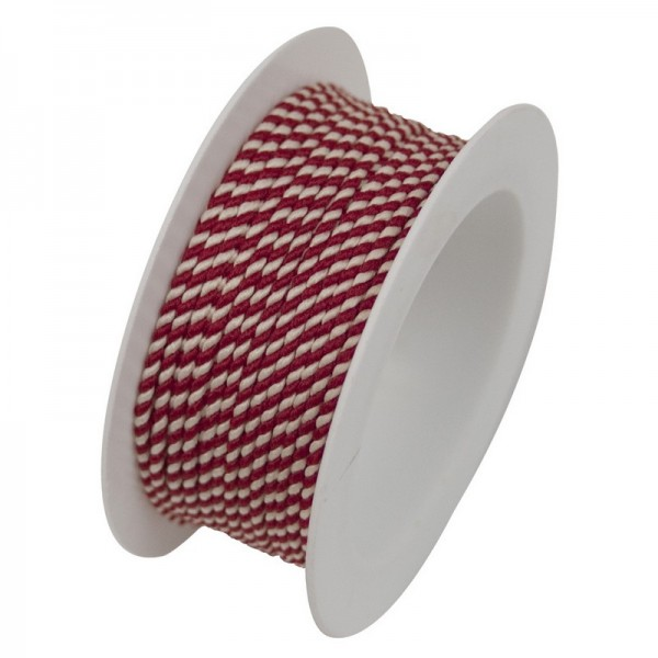 Kordel 1 mm: rot-weiss