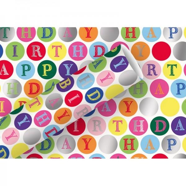 Geschenkpapier: Alu Happy Birthday