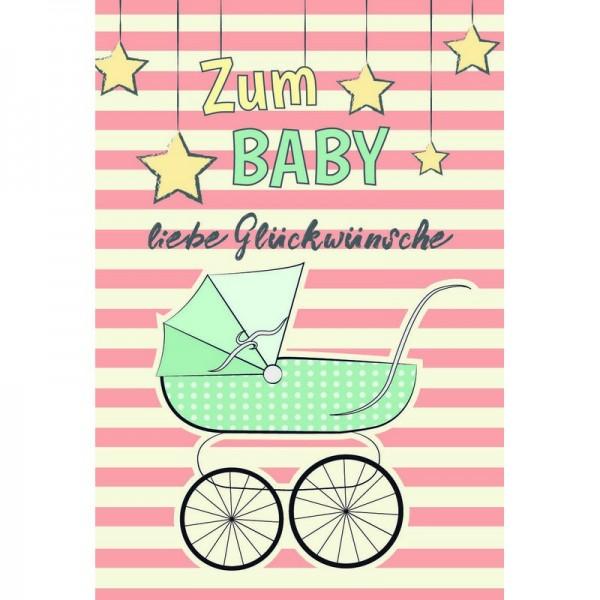 Minikarte Baby Kinderwagen grün