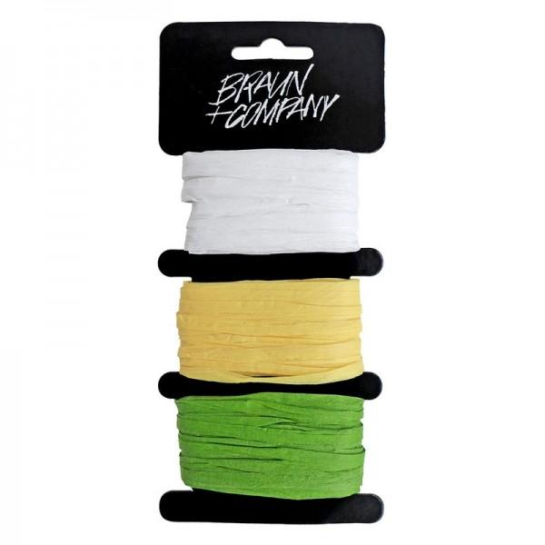 Raffiaband: weiß-gelb-grün