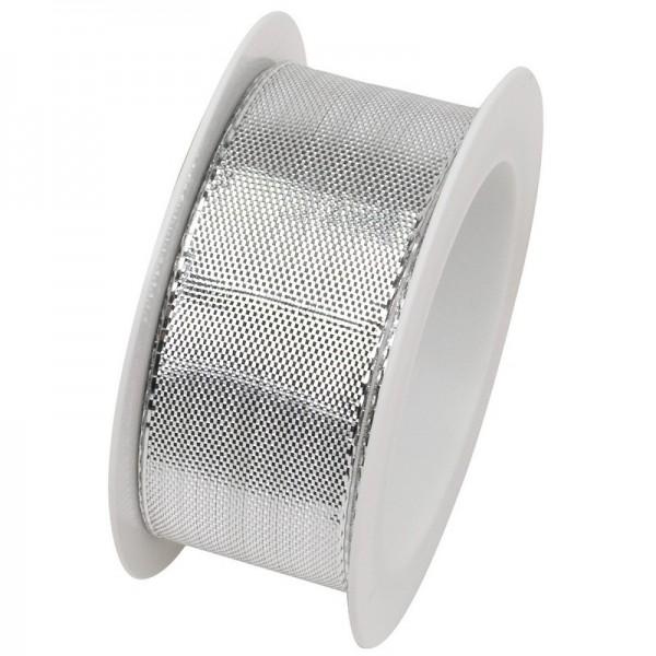Taftband 25 mm: Draht Glitzer silber