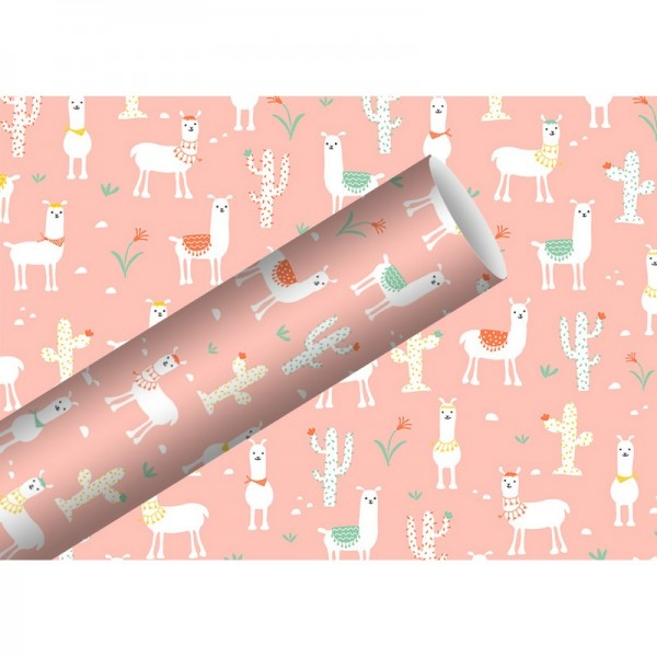 Geschenkpapier: Lama rosa