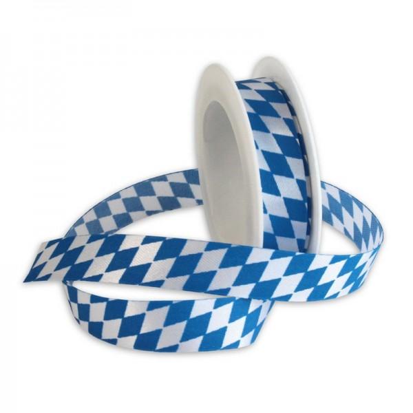 Taftband 15 mm: Bayern, blau/weiß