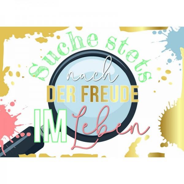 """Postkarte F&E """"Suche nach Freude"""" Folie"""