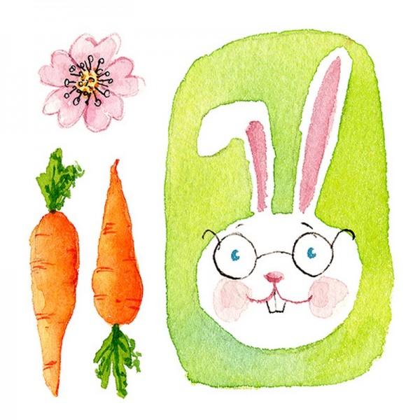 Serviette Atelier: Green Bunny
