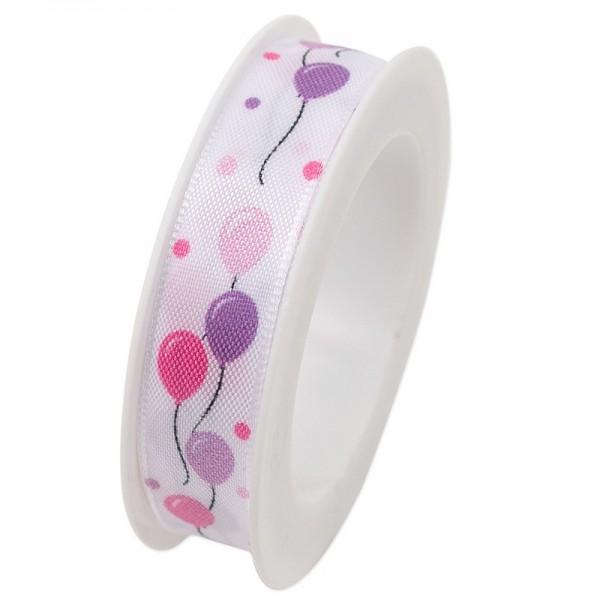 Taftband 15 mm: Little Ballons pink