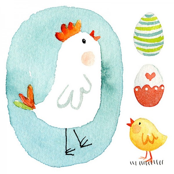 Serviette Atelier: Blue Chick