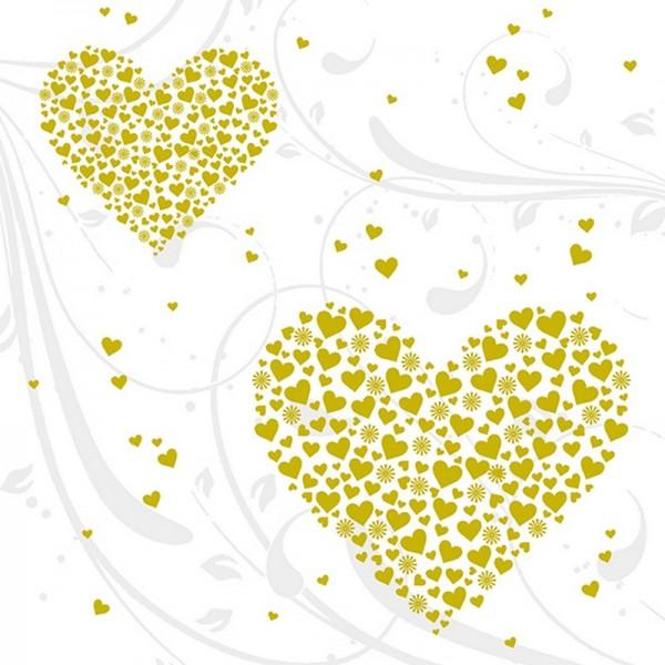 Serviette Atelier: Golden Hearts