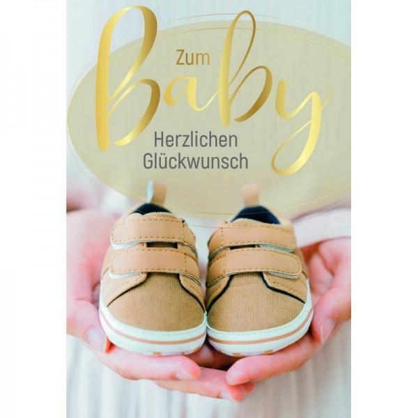 Minikarte Baby Schuhe in Händen