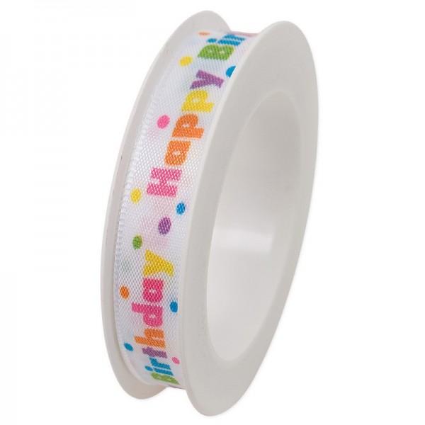Taftband 15 mm: Happy Birthday