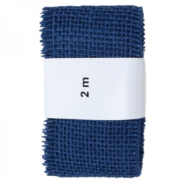 Juteband 60 mm: blau