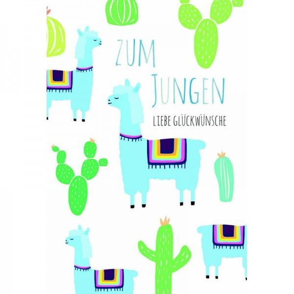 Minikarte Baby Lama Kaktus Junge