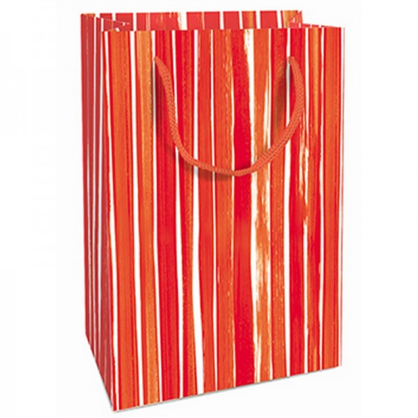 Geschenktaschen, 11 x 16 x 5 cm: Brush Stripes rot