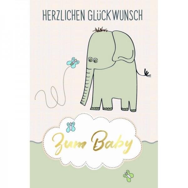 Minikarte Baby Elephant & Schmetterling