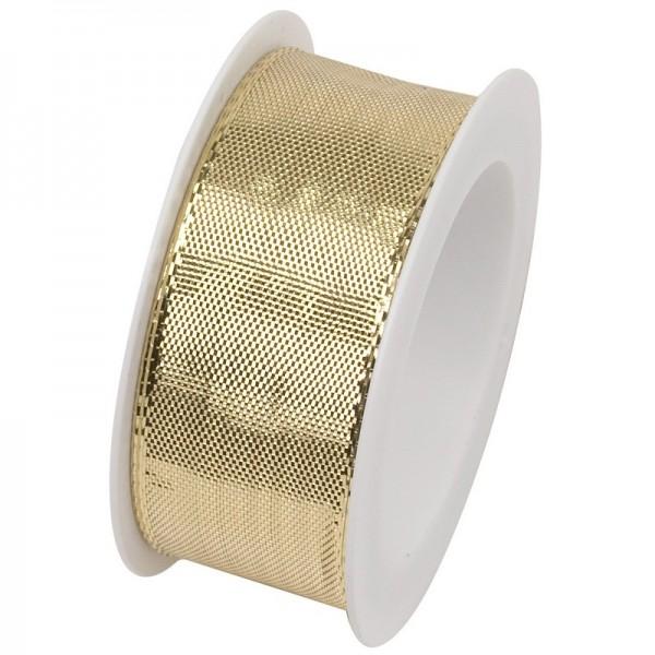 Taftband 25 mm: Draht Glitzer gold